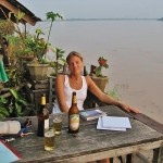 Sunset Beer Laos on the Mekong Vientianne