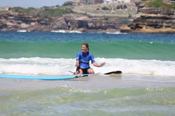 learning to surf at Bondi Beach