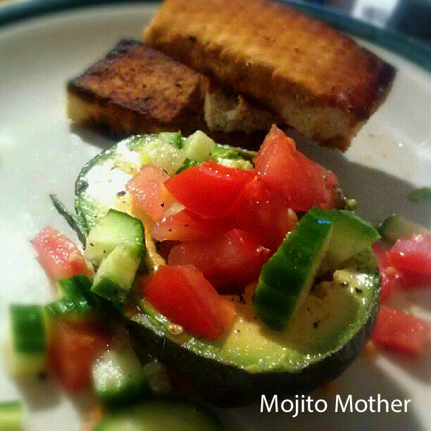 avocado with tomato and cucumber and tofu
